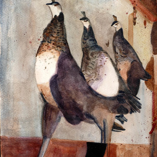 Away From The Flock 2 by Kondanna T Rao, Impressionism Painting, Watercolor on Paper, Brown color