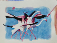 Migratory by Kondanna T Rao, Impressionism Painting, Watercolor on Paper, Gray color