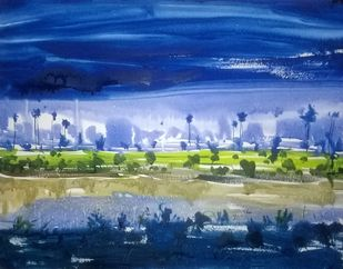 Blue by Santosh Keshari , Impressionism Painting, Watercolor on Paper, Blue color
