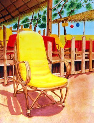 Praia Ensolarada (Sunny Beach) by Swati Joshi Phatak, Impressionism Painting, Watercolor & Ink on Paper, Brown color