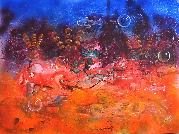 Water World by S. Venkatachalapathy, Fantasy Painting, Mixed Media on Canvas, Blue color