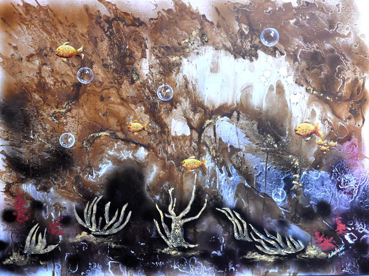 Dark hues of Sea by S. Venkatachalapathy, Fantasy Painting, Mixed Media on Canvas, Brown color
