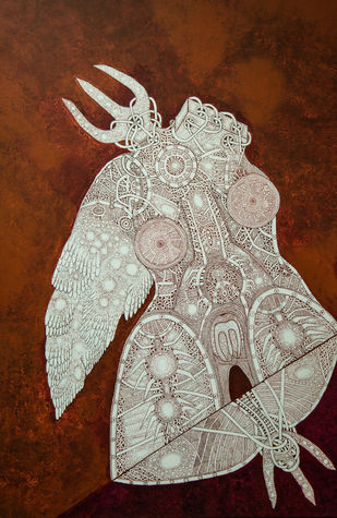 Unspoken Myths 7 by Mangesh Narayanrao Kale, Illustration Painting, Acrylic & Ink on Canvas, Brown color