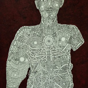 Unspoken Myths 4 by Mangesh Narayanrao Kale, Illustration Painting, Acrylic & Ink on Canvas, Brown color
