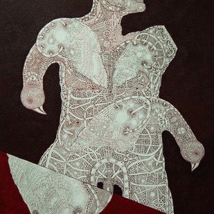 Unspoken Myths 1 by Mangesh Narayanrao Kale, Illustration Painting, Acrylic & Ink on Canvas, Brown color