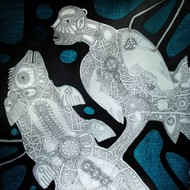 Timeless Solitude 5 by Mangesh Narayanrao Kale, Illustration Painting, Acrylic & Ink on Canvas, Gray color