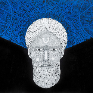 Priest 1 by Mangesh Narayanrao Kale, Illustration Painting, Acrylic & Ink on Canvas, Black color