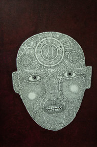 Face 3 by Mangesh Narayanrao Kale, Illustration Painting, Acrylic & Ink on Canvas, Brown color