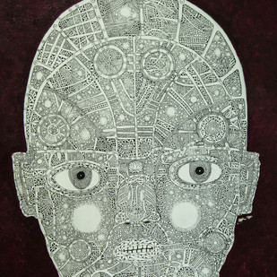 Face 2 by Mangesh Narayanrao Kale, Illustration Painting, Acrylic & Ink on Canvas, Blue color
