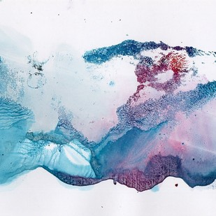 The Pink Morning by sandhya, Abstract Painting, Acrylic & Ink on Paper, Cyan color