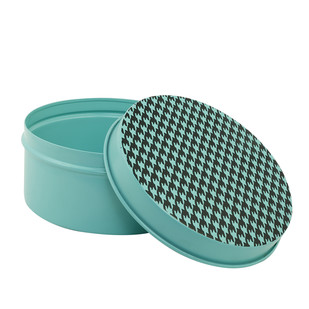 ELAN ROUND BOX LARGE - HOUNDSTOOTH-AQUA Decorative Box By living-with-elan