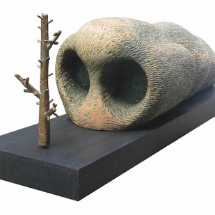 Doomed Existence by Sukanta Chowdhury, Expressionism Sculpture | 3D, Wood & Brass, White color