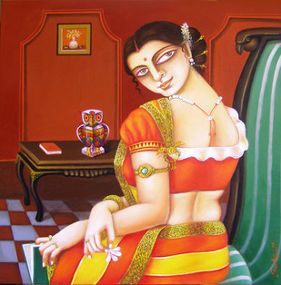 Charulaata by Gautam Mukherjii, Traditional Painting, Acrylic on Canvas, Brown color