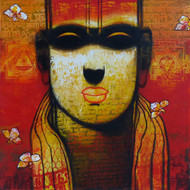 Untitled by Sujata Achrekar, Expressionism Painting, Acrylic on Canvas, Brown color