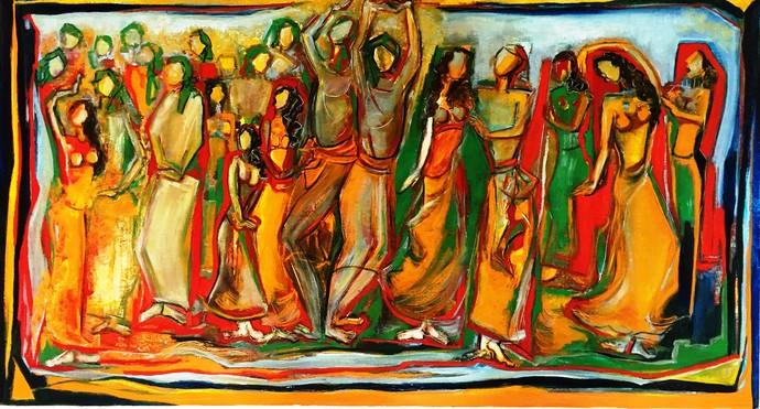Baraat by Uma Chhatrapati, Expressionism Painting, Oil on Jute, Brown color