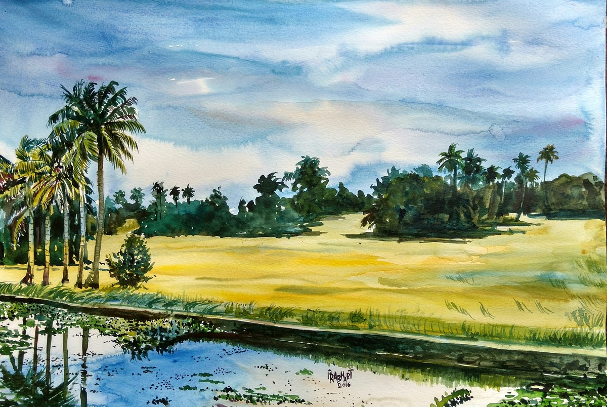 Landscape 5 by Prabhakaran, Impressionism Painting, Watercolor on Paper, Green color