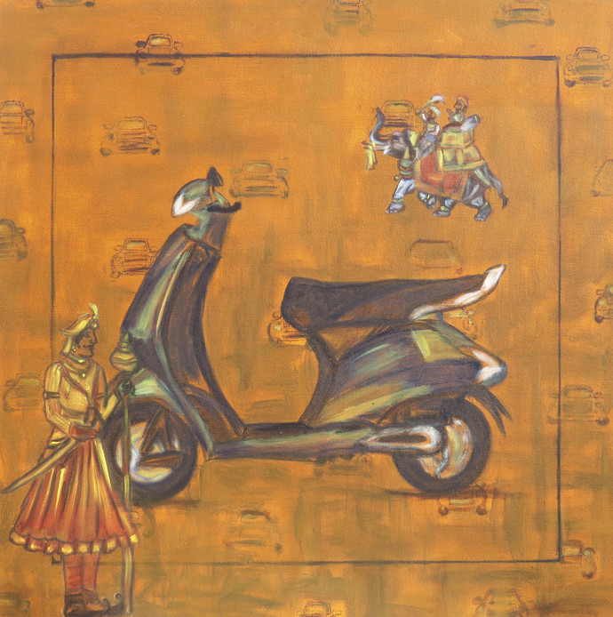 Invention or Attire by riddhima sharraf, Pop Art Painting, Oil on Canvas, Brown color