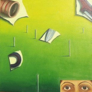 Catch And Cuts by riddhima sharraf, Expressionism Painting, Oil on Canvas, Green color