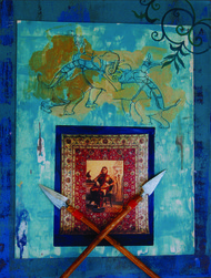 Reminiscence Of A Court Wall by Mahendra Singh Baoni, Pop Art Painting, Oil & Acrylic on Canvas, Green color