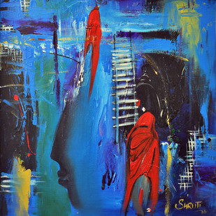 The Quest by Shruti Goyal, Impressionism Painting, Acrylic on Canvas, Blue color