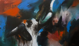 Untitled 1 by Shruti Goyal, Expressionism Painting, Acrylic on Canvas, Gray color