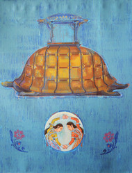 Reminiscences Of A Court Interior by Mahendra Singh Baoni, Pop Art Painting, Oil & Acrylic on Canvas, Cyan color