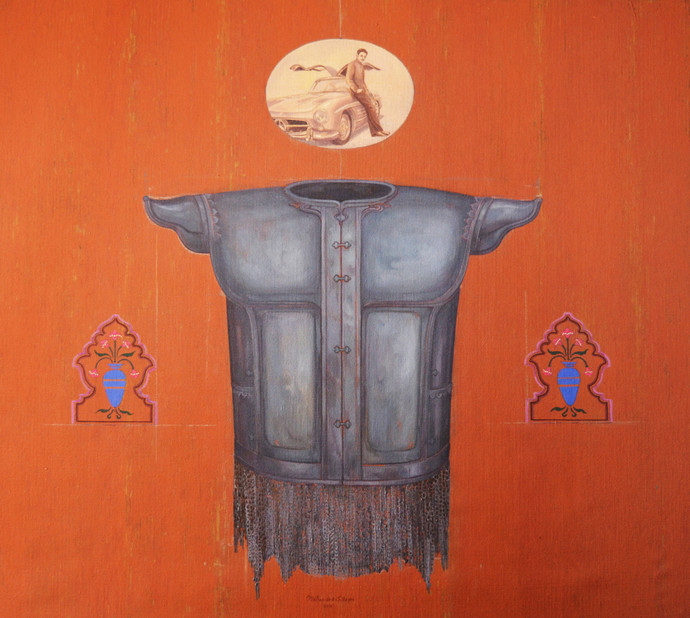 Reminiscences Of A Court Interior by Mahendra Singh Baoni, Pop Art Painting, Oil & Acrylic on Canvas, Orange color