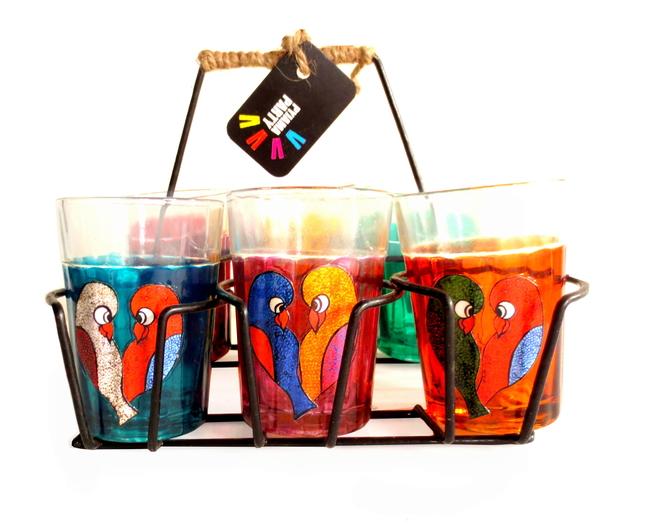 Quirky kitsch cutting chai set- Love Birds Serveware By Pyjama Party Studio