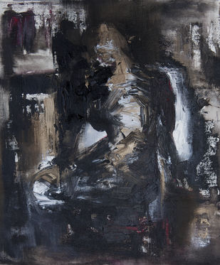 Composition 1 by Shruti Goyal, Abstract Painting, Acrylic on Canvas, Gray color