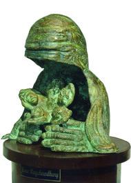 Divine Touch by UMA ROYCHOWDHURY, Art Deco Sculpture | 3D, Bronze, White color