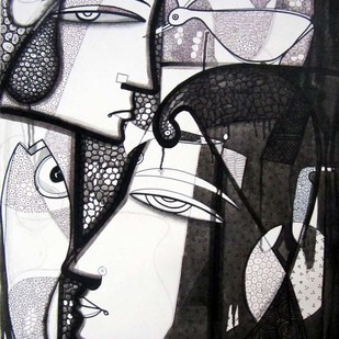 Face To Face by Girish Adannavar, Expressionism Painting, Oil on Canvas, Gray color