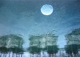 MOONLIGHT SONATA by Ashok Roy, Impressionism Painting, Mixed Media on Canvas, Blue color
