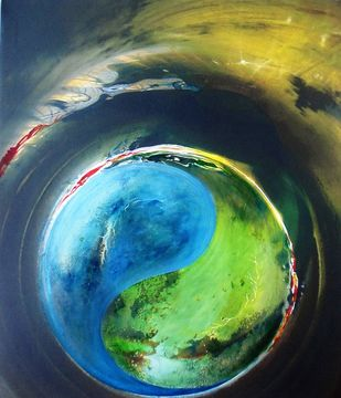 Yin Yang by Ashok Roy, Impressionism Painting, Mixed Media on Canvas, Green color