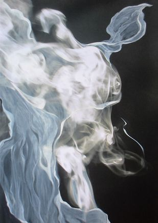 Figure In Smoke by Ashok Roy, Impressionism Painting, Mixed Media on Canvas, Gray color