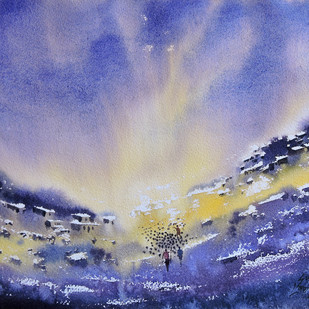 Valley-end by Sunil Linus De, Impressionism Painting, Watercolor on Paper, Blue color