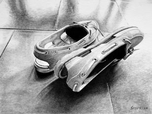 Late Entry by Sripriya Mozumdar, Photorealism Drawing, Graphite on Paper, Gray color