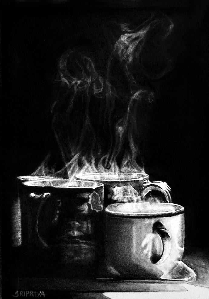 Hot Cuppa by Sripriya Mozumdar, Photorealism Drawing, Charcoal on Paper, Black color