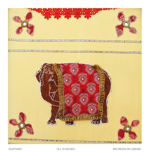 Rayal Elephant by Pranati Das, Pop Art Painting, Mixed Media on Canvas, Green color