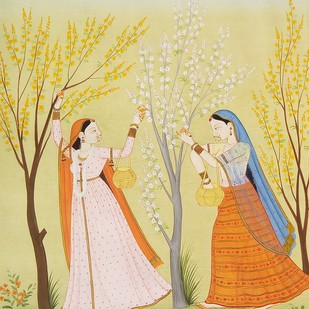Ragini Basanti by Rajeev Kumar, Folk Painting, Acrylic on Paper, Beige color
