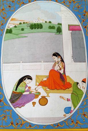 Beauty Of Her Feet by Rajeev Kumar, Folk Painting, Acrylic on Canvas, Gray color