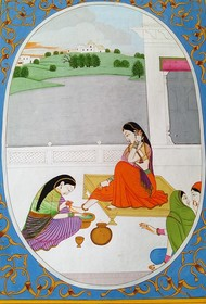 Beauty Of Her Feet by Rajeev Kumar, Folk Painting, Acrylic on Canvas, Gray color