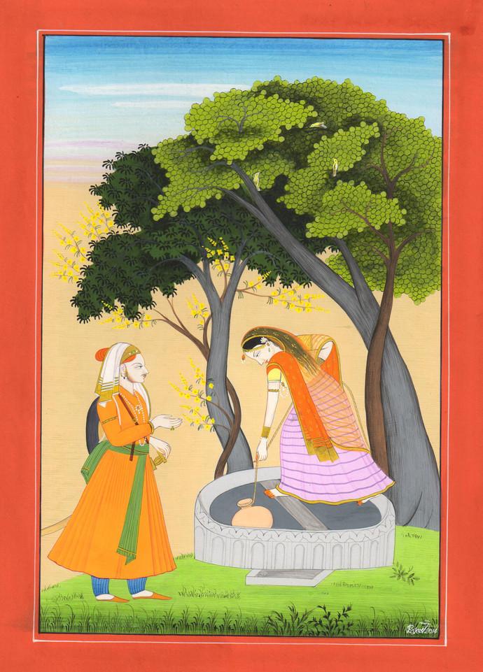 Raga Kumbha by Rajeev Kumar, Folk Painting, Acrylic on Paper, Beige color