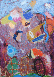 Untitled 20 by Rajnish Kaur, Abstract Painting, Oil Pastel on Paper, Brown color