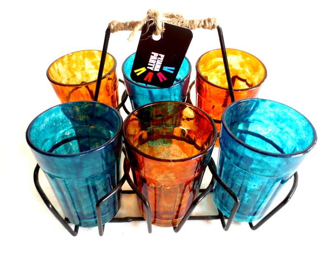 Quirky kitsch cutting chai set- Blue and Orange textured