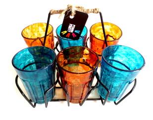 Quirky kitsch cutting chai set- Blue and Orange textured Serveware By Pyjama Party Studio