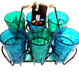 Quirky kitsch cutting chai set Green and Blue textured Serveware By Pyjama Party Studio