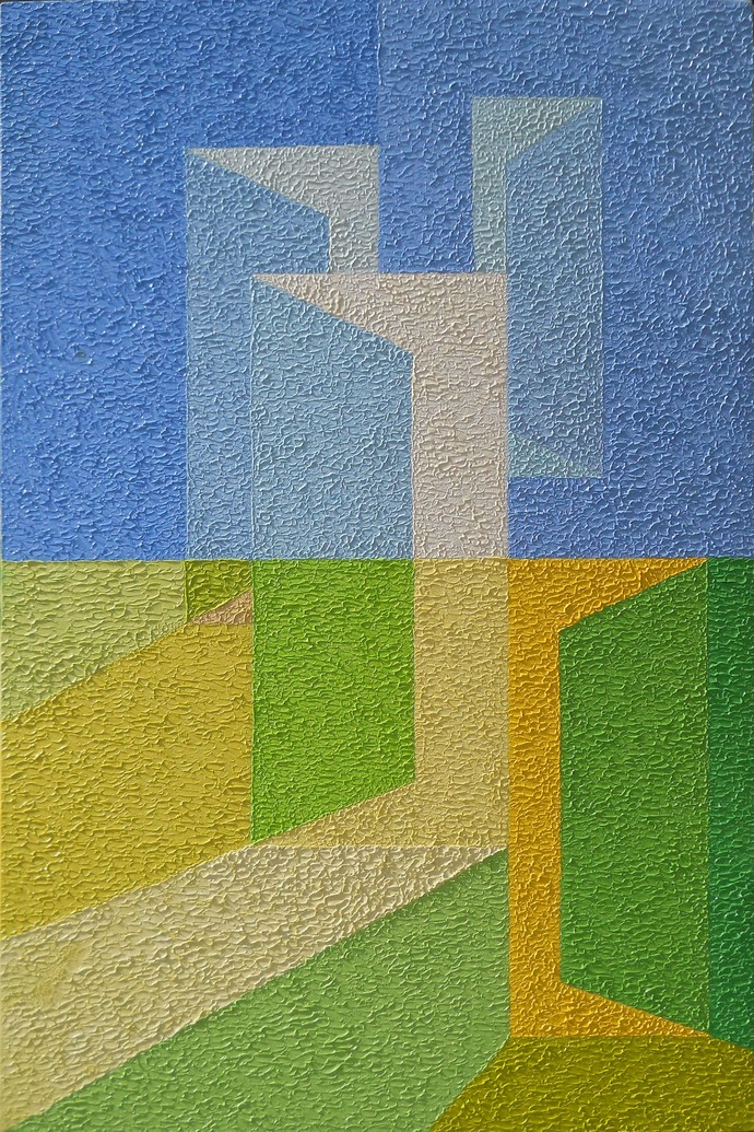 Entrance by S.P.Verma, Geometrical Painting, Oil on Canvas Board, Green color