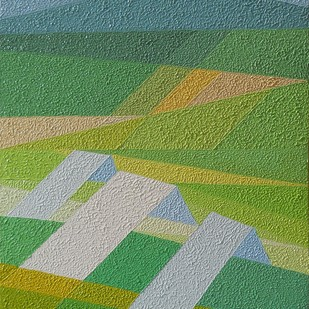 Hilly- Scape by S.P.Verma, Geometrical Painting, Oil on Canvas Board, Green color
