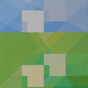 Mental Picture by S.P.Verma, Geometrical Painting, Oil on Canvas Board, Green color