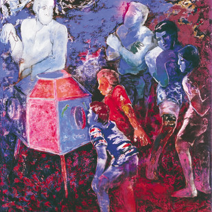 Bioscope by Deepak Shinde, Expressionism Printmaking, Giclee Print on Hahnemuhle Paper, Blue color